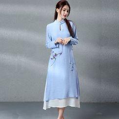 Salisha - Mock Two-Piece Long-Sleeve Midi Dress