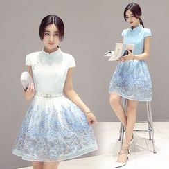 Ekim - Stand-collar Short-Sleeve Organza Dress