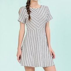 Strawberry Flower - Stripe Cutout Shoulder Short-Sleeve Dress