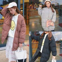 Zzang Girls - Plain Long Padded Jacket