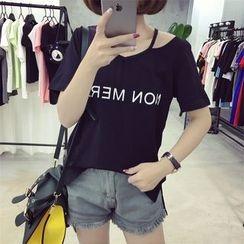 Ukiyo - Lettering V-Neck Short-Sleeve T-Shirt