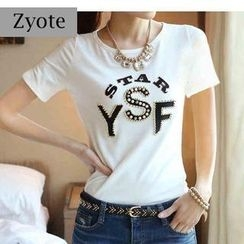 Zyote - Short-Sleeve Lettering Rhinestone T-Shirt