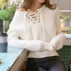 DABAGIRL - Lace-Up Neck Pointelle-Knit Top