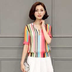 AiSun - Elbow-Sleeve Striped V-Neck Blouse