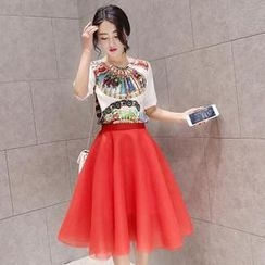 Angel Shine - Set: Printed Chiffon Top + Mesh Skirt