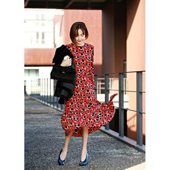 ssongbyssong - Round-Neck Floral Print Long Dress