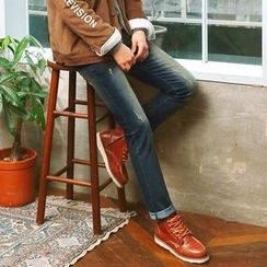 MEOSIDDA - Washed Straight-Cut Jeans