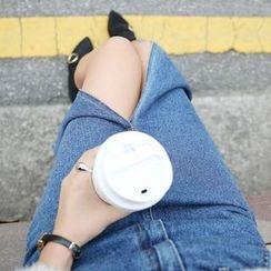Envy Look - Slit-Front Denim Long Skirt