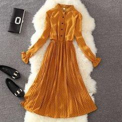 Clementine - 套裝: 印花長袖雪紡連衣裙 /  + 純色針織馬甲