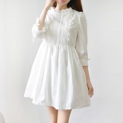 Ceres - Maternity 3/4-Sleeve Lace Trim Dress