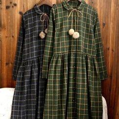 tete - 長袖格子連衣裙