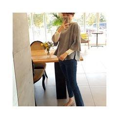 LEELIN - Wool Blend Elbow-Sleeve Knit Top