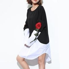 Myrtle - Flower Embroidered Mock Two Piece Pullover Dress