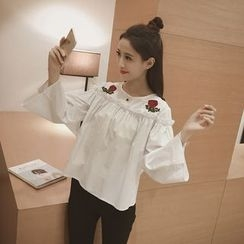 Eva Fashion - Rose Applique Frill Trim Long Sleeve Top