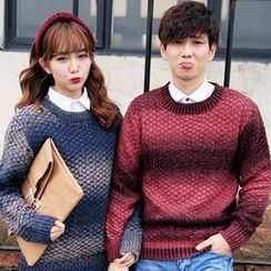 Simpair - Couple Matching Striped Checkerboard Knit Sweater