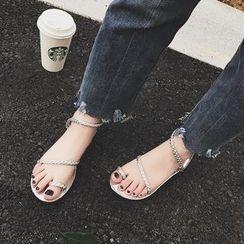 QQ Trend - 辮子仿皮平底涼鞋