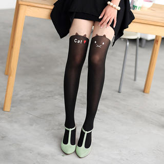 59 Seconds - Cat Print Two-Tone Tights