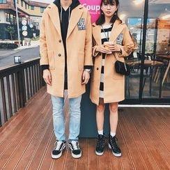 Simpair - Couple Matching Applique Long Woolen Coat