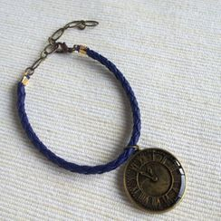 MyLittleThing - Blue Leather Clock Bracelet