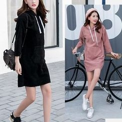 EFO - Drawstring Hooded Fleece Pullover Dress