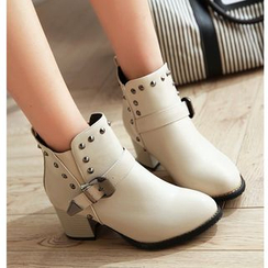 Cinnabelle - Block Heel Studded Ankle Boots