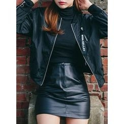 icecream12 - Faux-Leather Mini Pencil Skirt