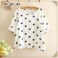 Maymaylu Dreams - Heart Print Short-Sleeve T-Shirt
