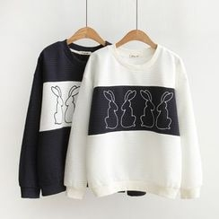 Angel Love - Rabbit Embroidered Color Panel Pullover