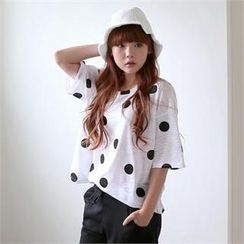 Cocopop - Round-Neck Polka-Dot Top