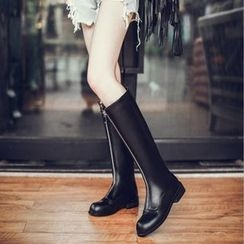 JY Shoes - Front Zip Chunky Heel Tall Boots