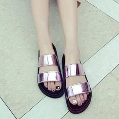 Micha - Metallic Strap Slide Sandals