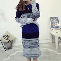 Fashion Street - Set: Color Block Sweater + Midi Knit Skirt