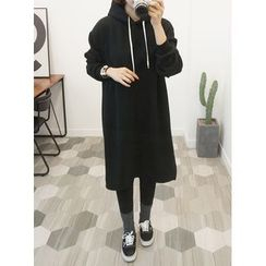 STYLEBYYAM - Drawstring Hooded Pullover Dress