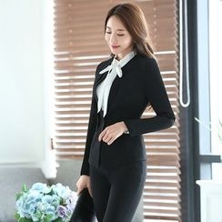 Mija - Set: Dress Shirt + Blazer + Pencil Skirt / Dress Pants
