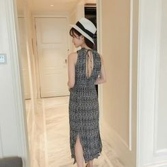 SUYISODA - Sleeveless Patterned Slit Midi Dress