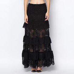 YiGelila - Lace-Panel Ruffled Long Skirt
