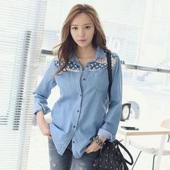 REDOPIN - Denim Star Print Shirt