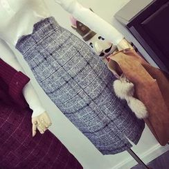 RUI - Plaid High Waist Pencil Skirt