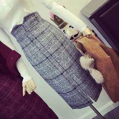 RUI - Plaid High Waist Pencil Skirt