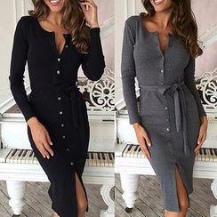 Aquello - Button Down Long-Sleeve Sheath Dress with Sash