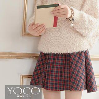 Tokyo Fashion - Elastic-Waist Plaid A-Line Skirt