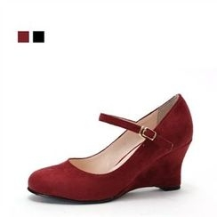 MODELSIS - Faux-Suede Wedge Mary Jane Pumps