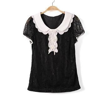 9mg - Contrast-Trim Corsage Accent Lace Blouse