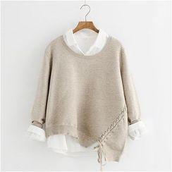 舒然衣社 - 不對稱繫帶純色毛衣