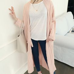 DANI LOVE - Open-Front Slit-Side Long Ribbed Cardigan