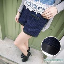 OrangeBear - 仿皮革打褶修身短裤