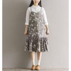 Jolly Club - Sleeveless Spaghetti-Strap Printed Dress