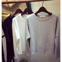 氣質淑女 - 短款羅紋針織上衣