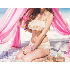 Jumei - 蕾丝荷叶边比基尼泳衣