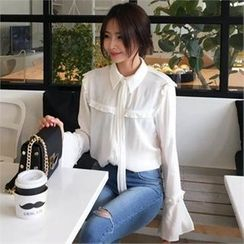 QNIGIRLS - Tie-Neck Frill-Trim Blouse